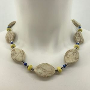 White & Yellow Magnesite Stone Blue Pearl Necklace